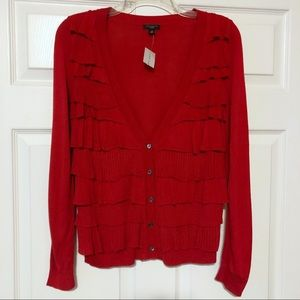NWT Ann Taylor Red Ruffle Front V-Neck Cardigan SP